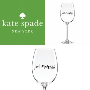"""♠️Kate Spade """"Just Married"""" Wine Glass♠️"""